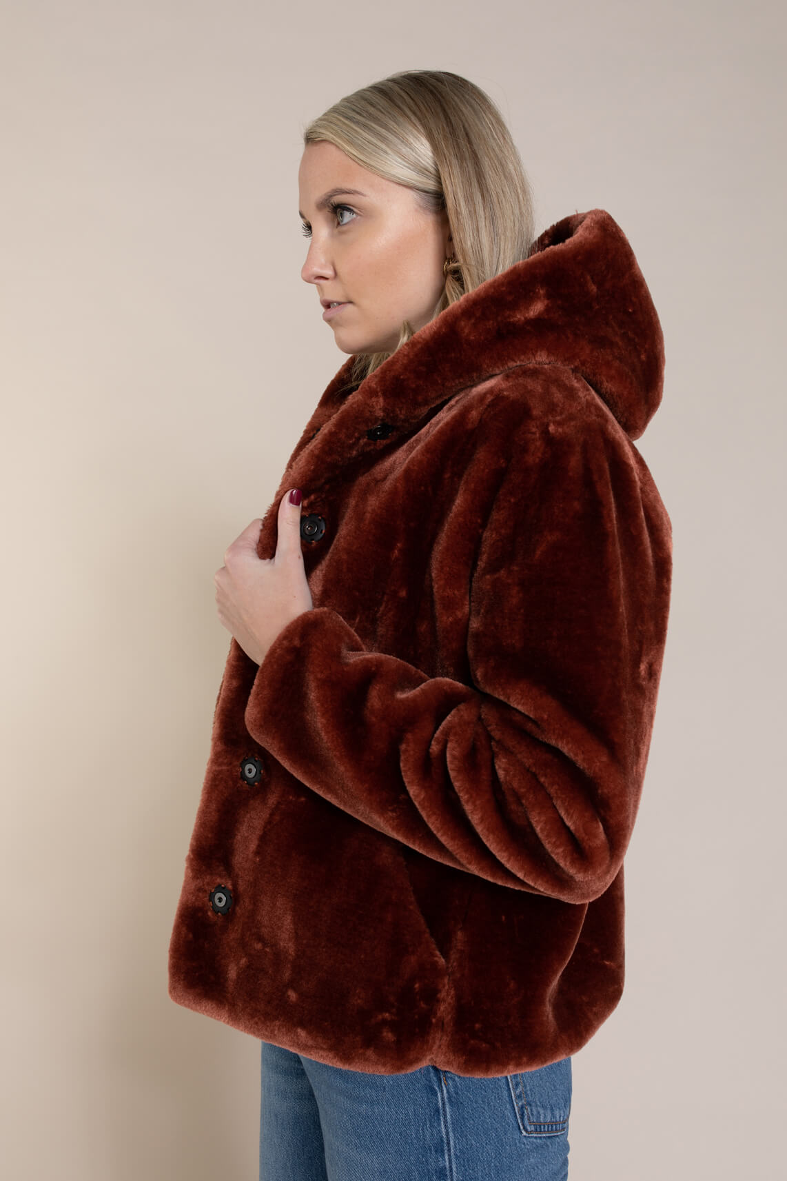 Giacomo Dames Faux fur jasje Rood