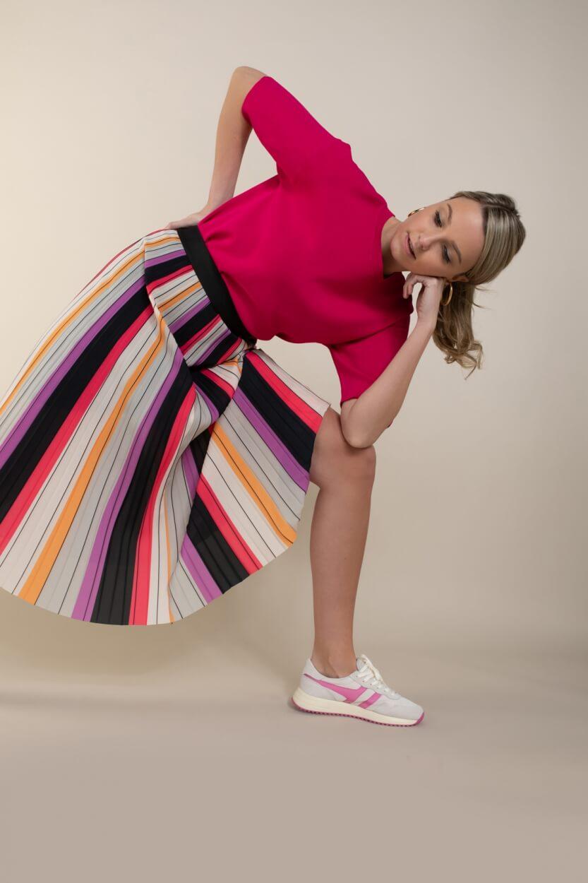 Anna Dames Gestreepte plissé rok Roze