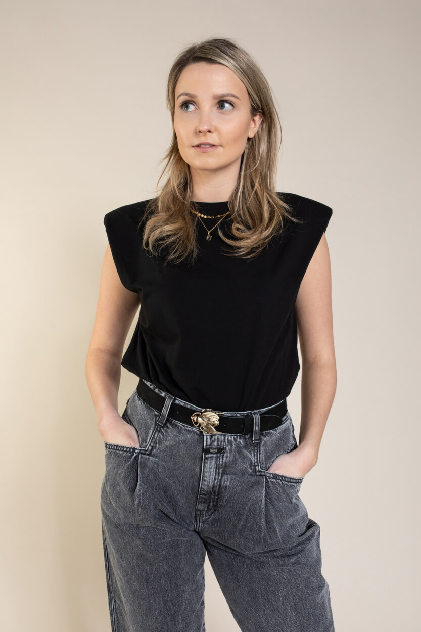 Anna Dames Boxy shirt Zwart