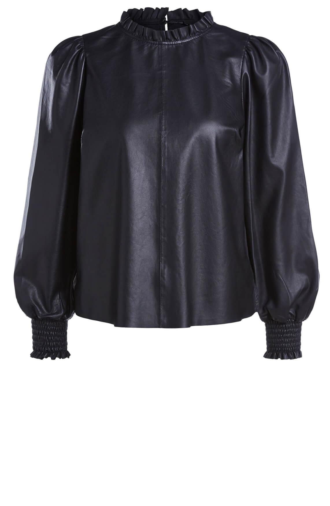 Set Dames Leren blouse met pofmouw zwart