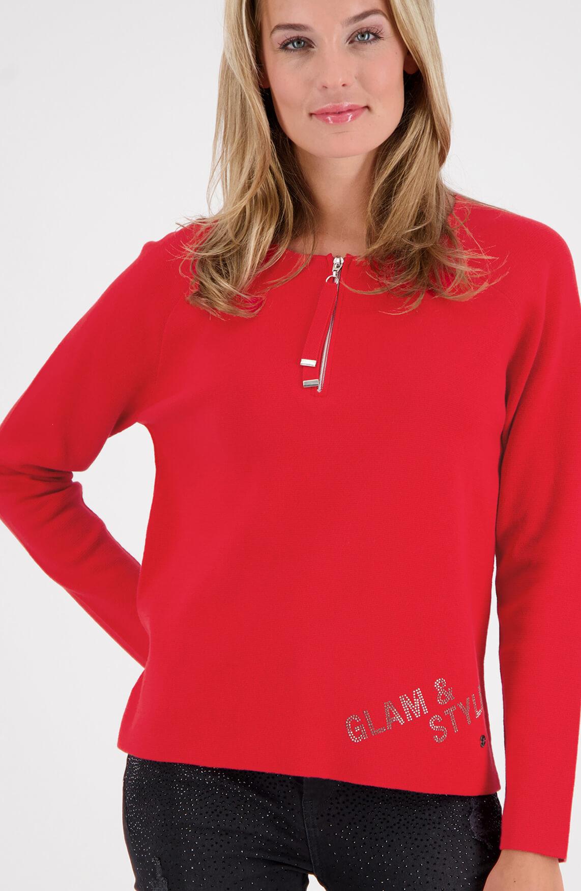Monari Dames Pullover met rits Rood