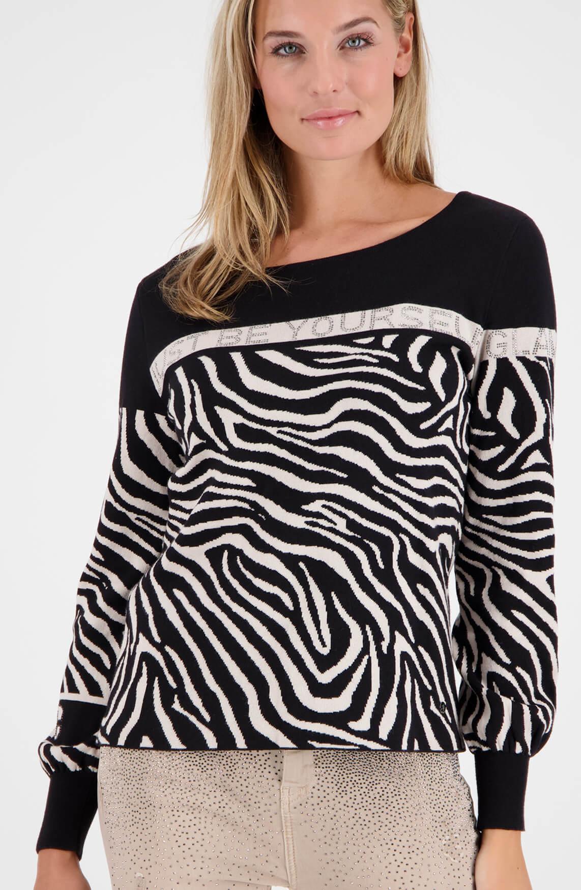 Monari Dames Pullover met zebraprint zwart