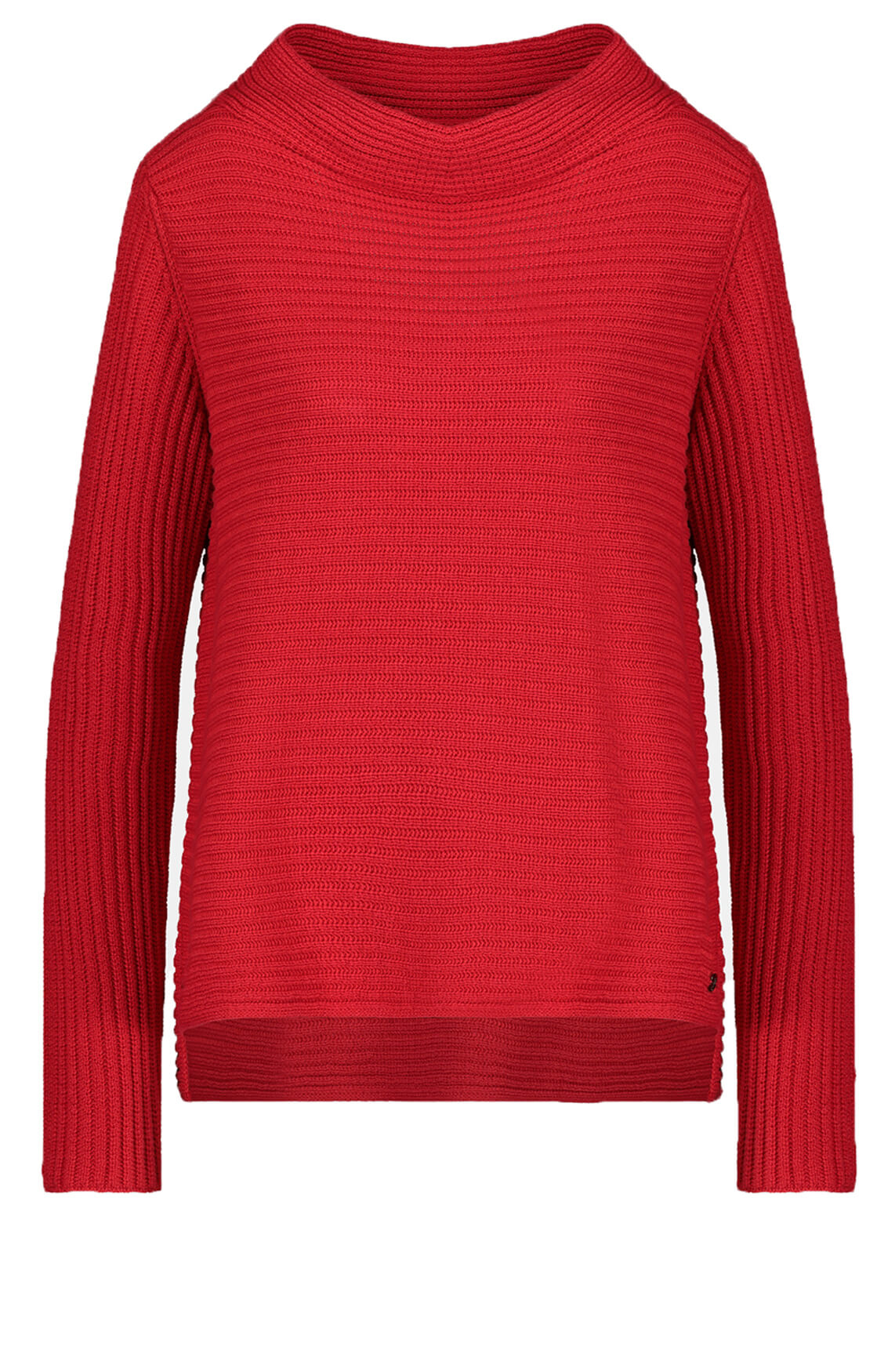 Monari Dames Ribgebreide pullover Rood