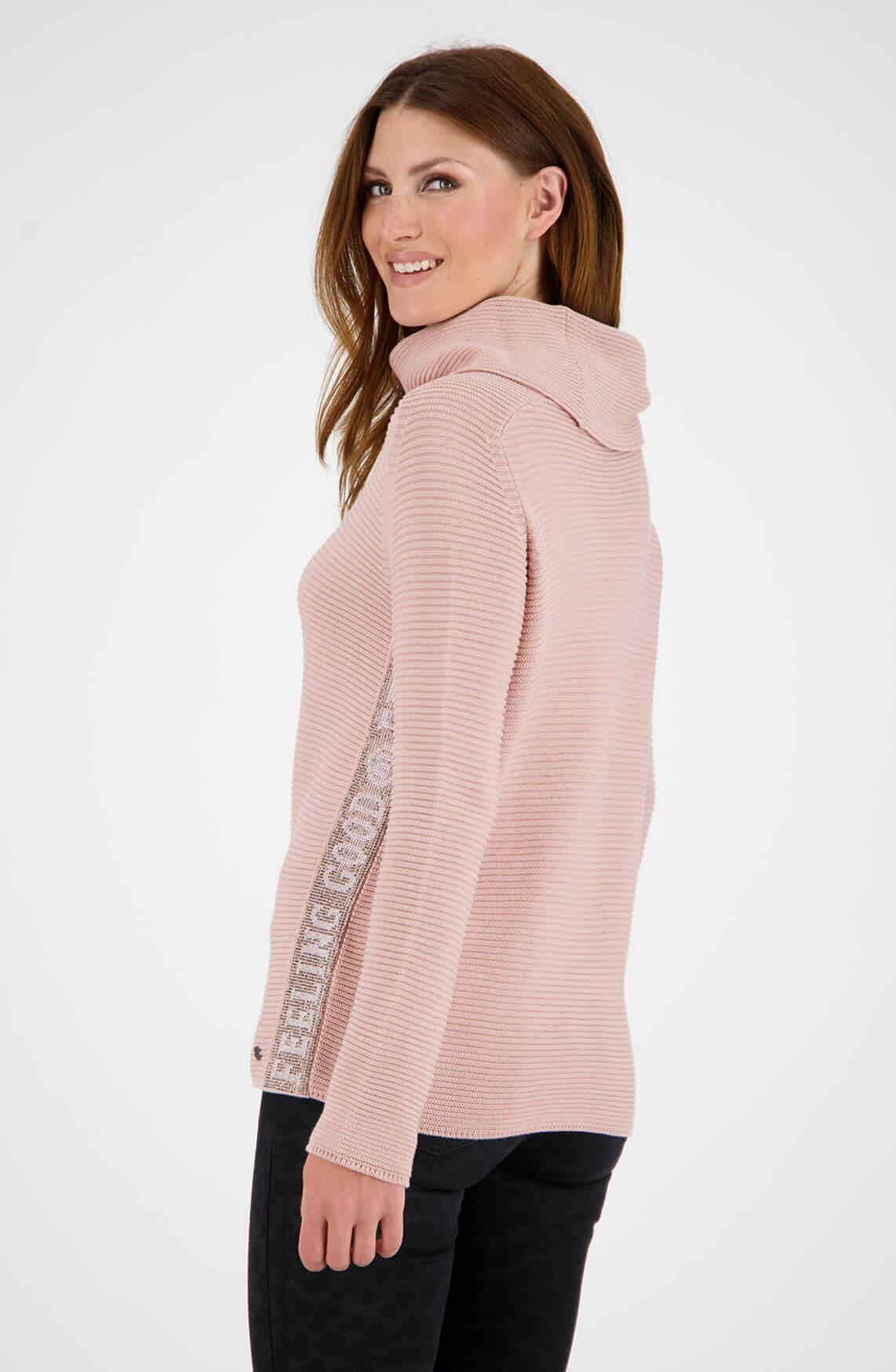 Monari Dames Pullover met colkraag roze