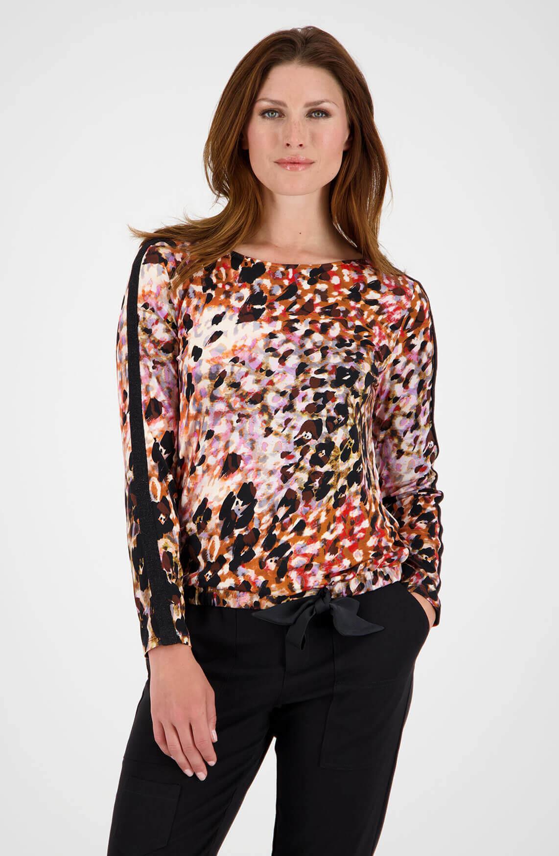 Monari Dames Shirt met lurex bies roze