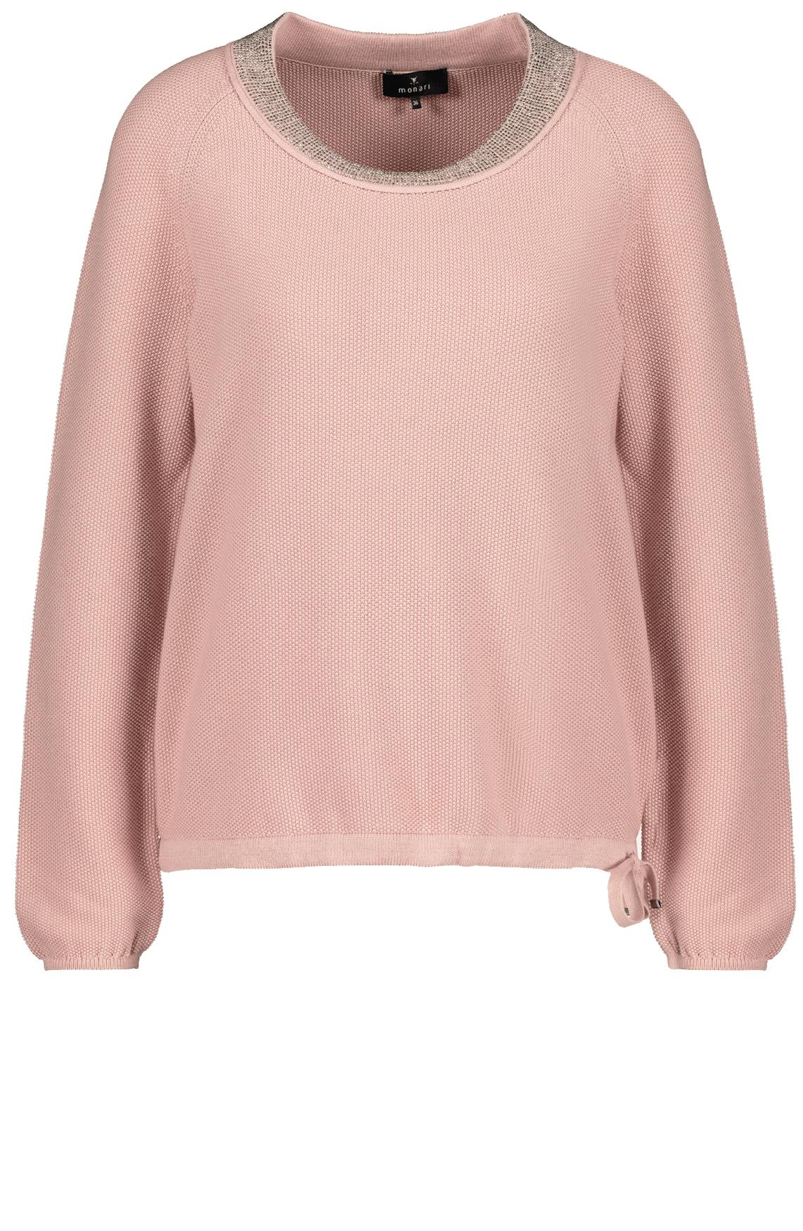Monari Dames Pullover met strass hals roze