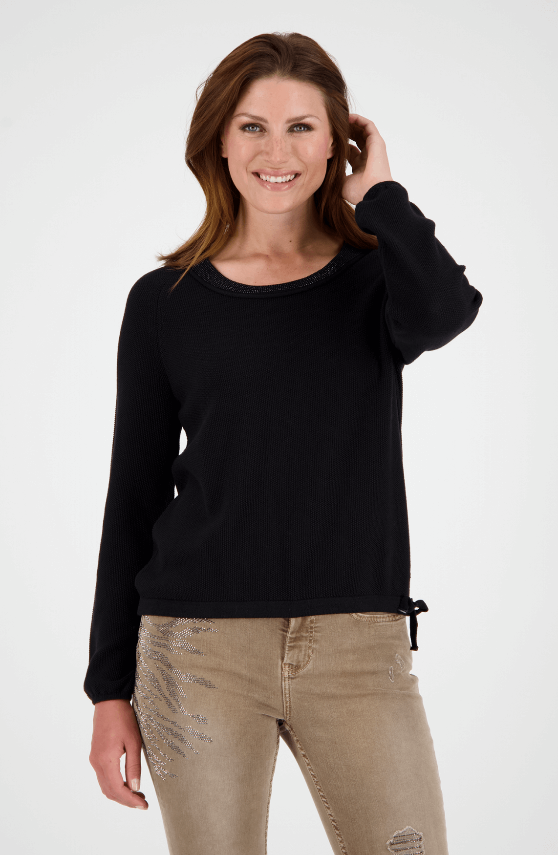Monari Dames Pullover met strass hals Zwart