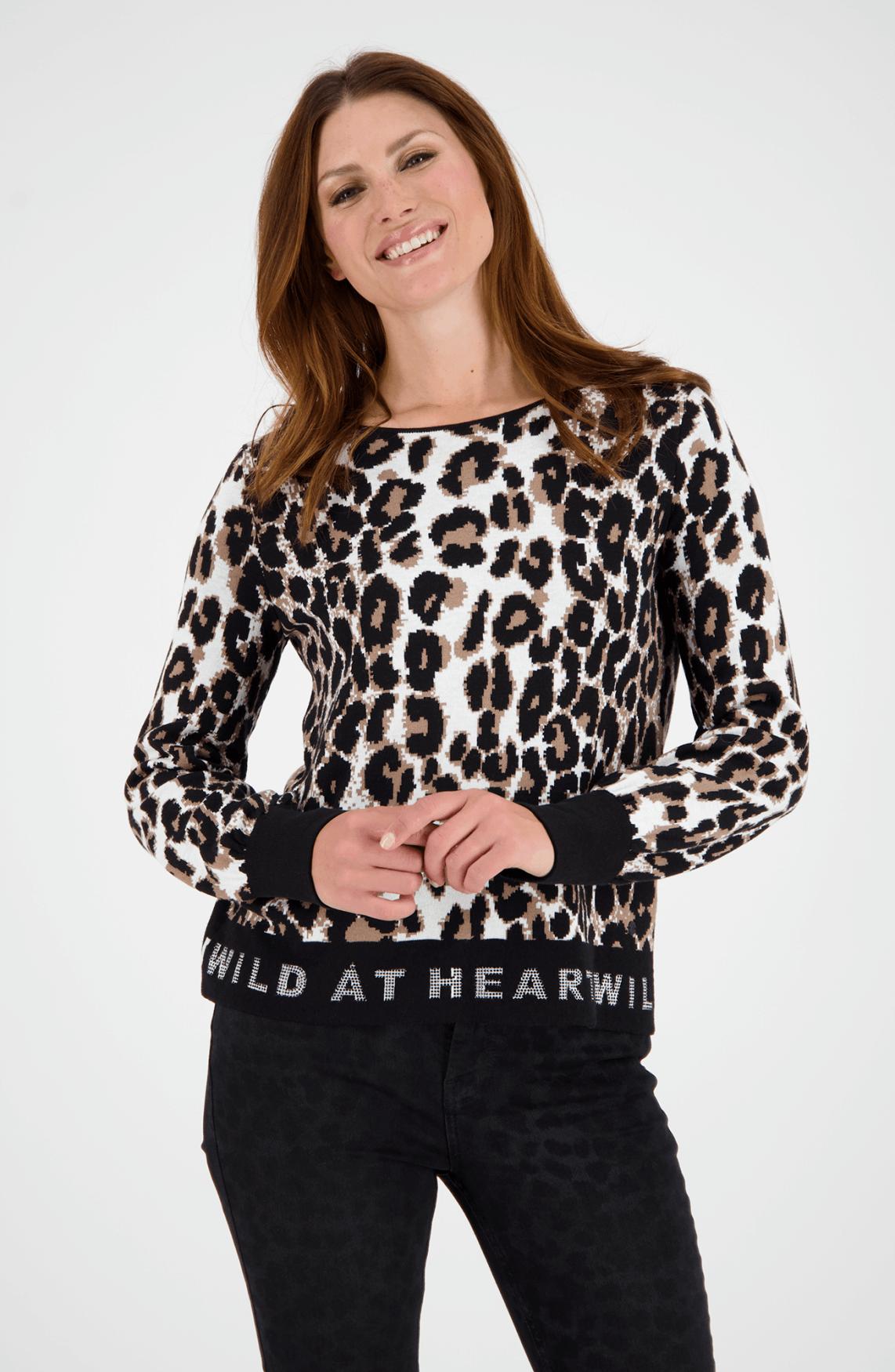 Monari Dames Panterprint sweater Bruin