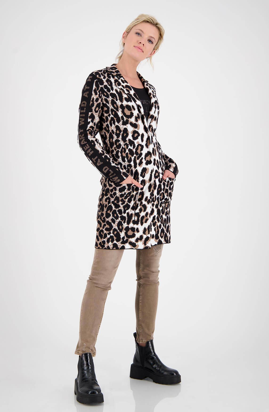 Monari Dames Vest met panterprint Zwart