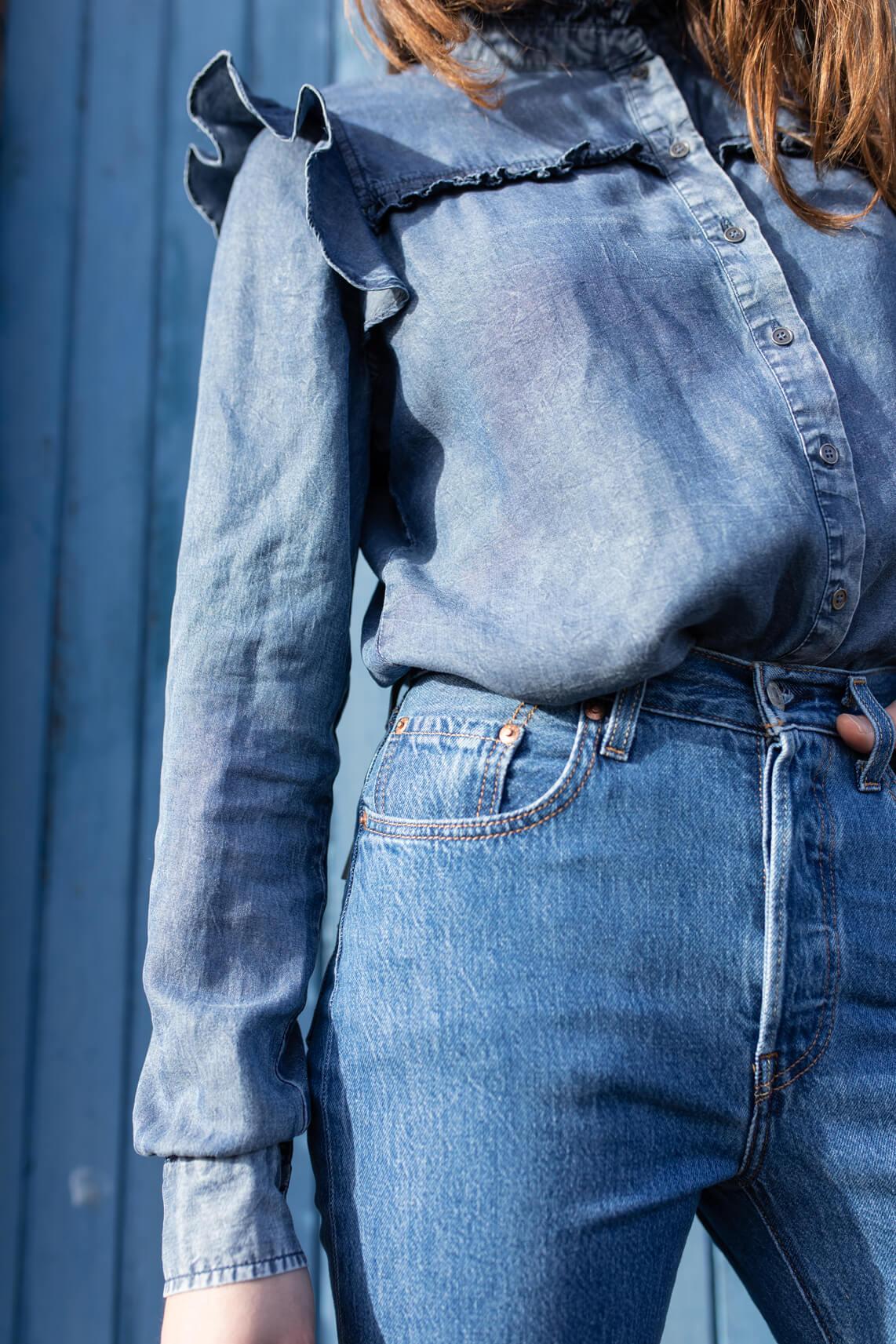 Anna Dames Denim blouse Blauw