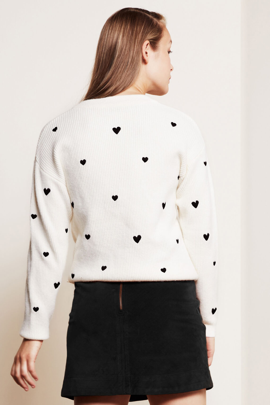 Fabienne Chapot Dames Disco hearts pullover wit