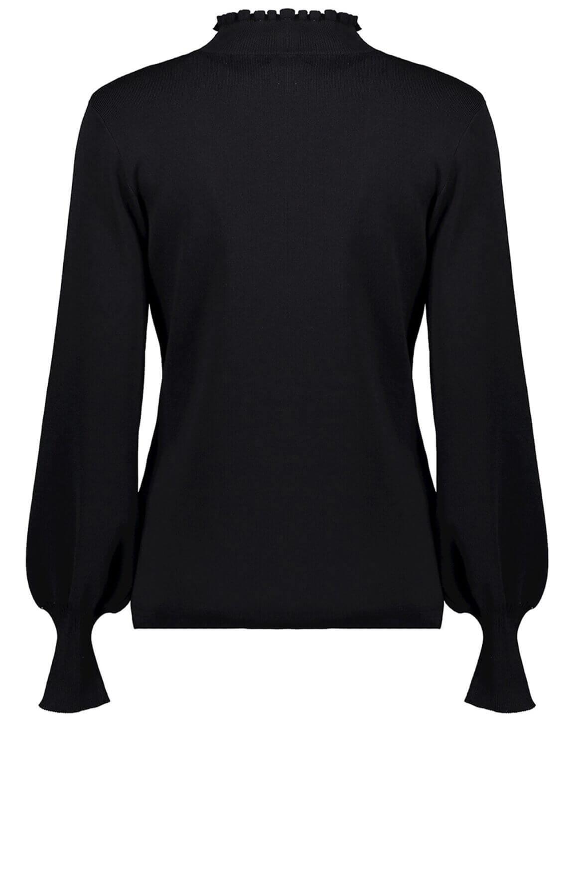 Geisha Dames Pullover met ruches zwart