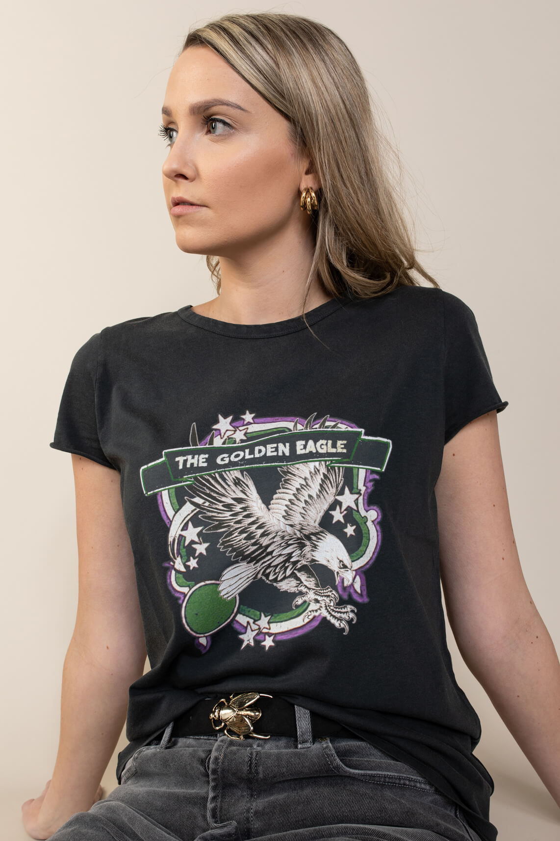 Set Dames T-shirt met print Grijs