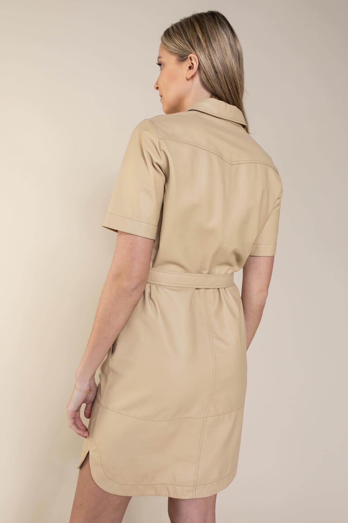 Set Dames Leren jurk Bruin