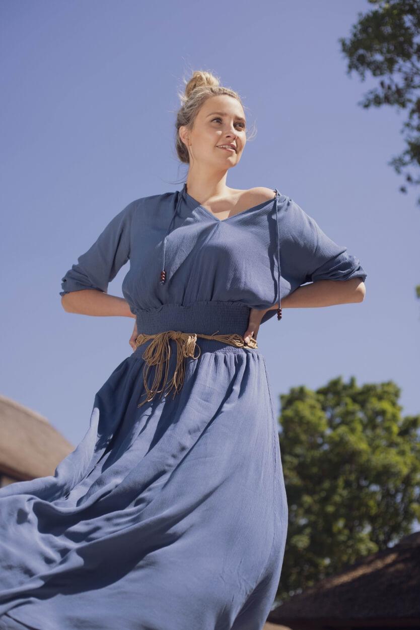 Anna Dames Maxi rok met ceintuur Blauw