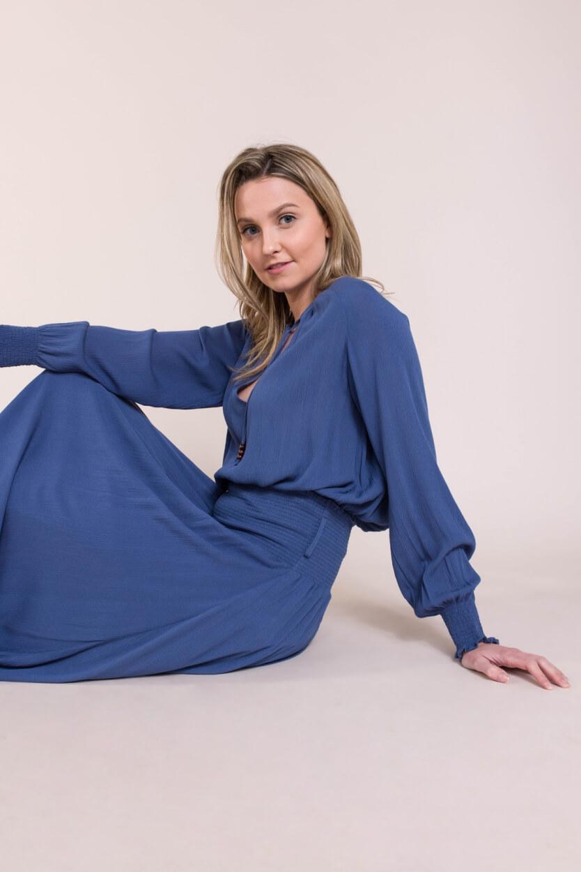 Anna Dames Blouse Blauw