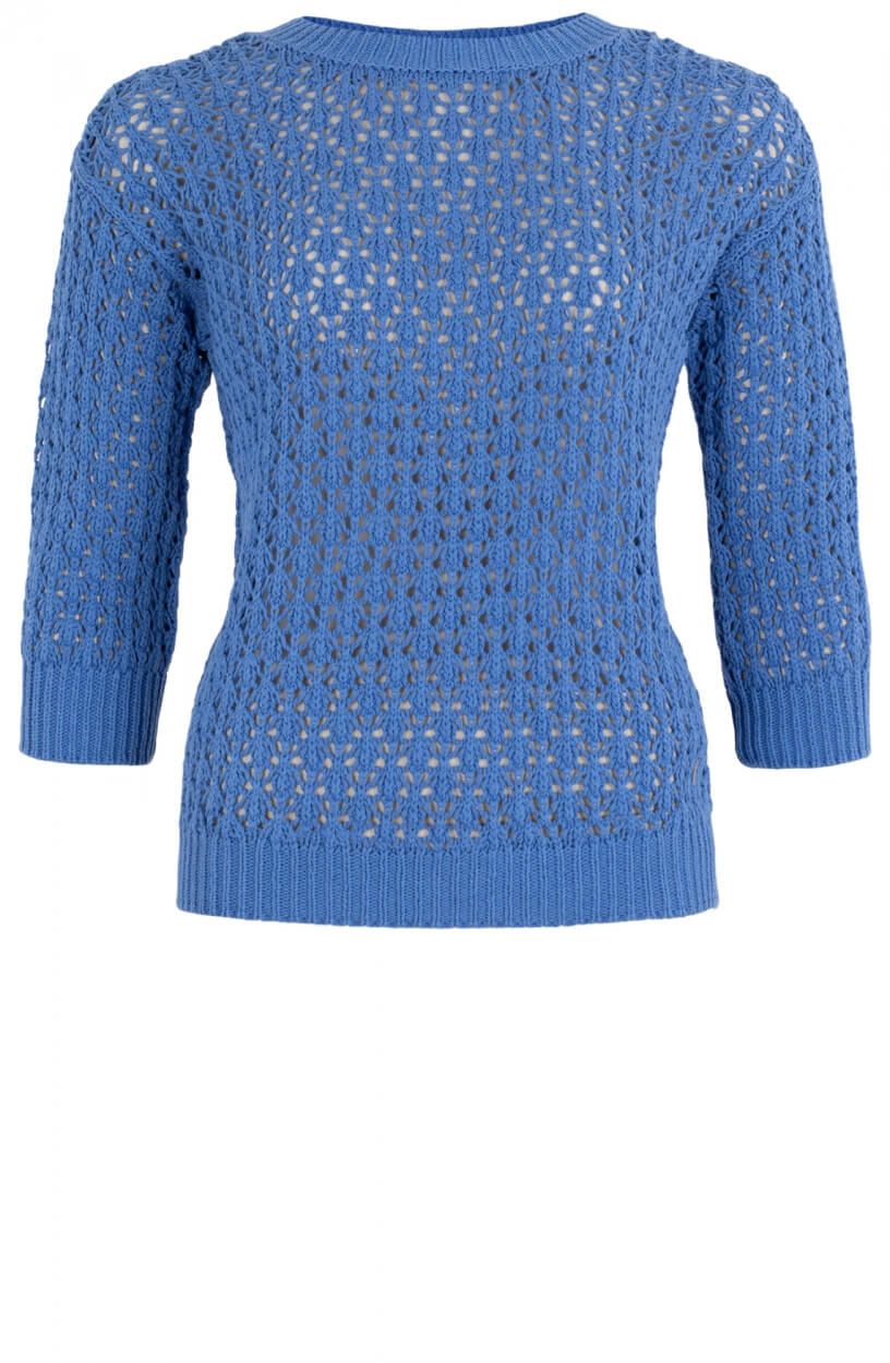 Anna Dames Opengebreide trui Blauw