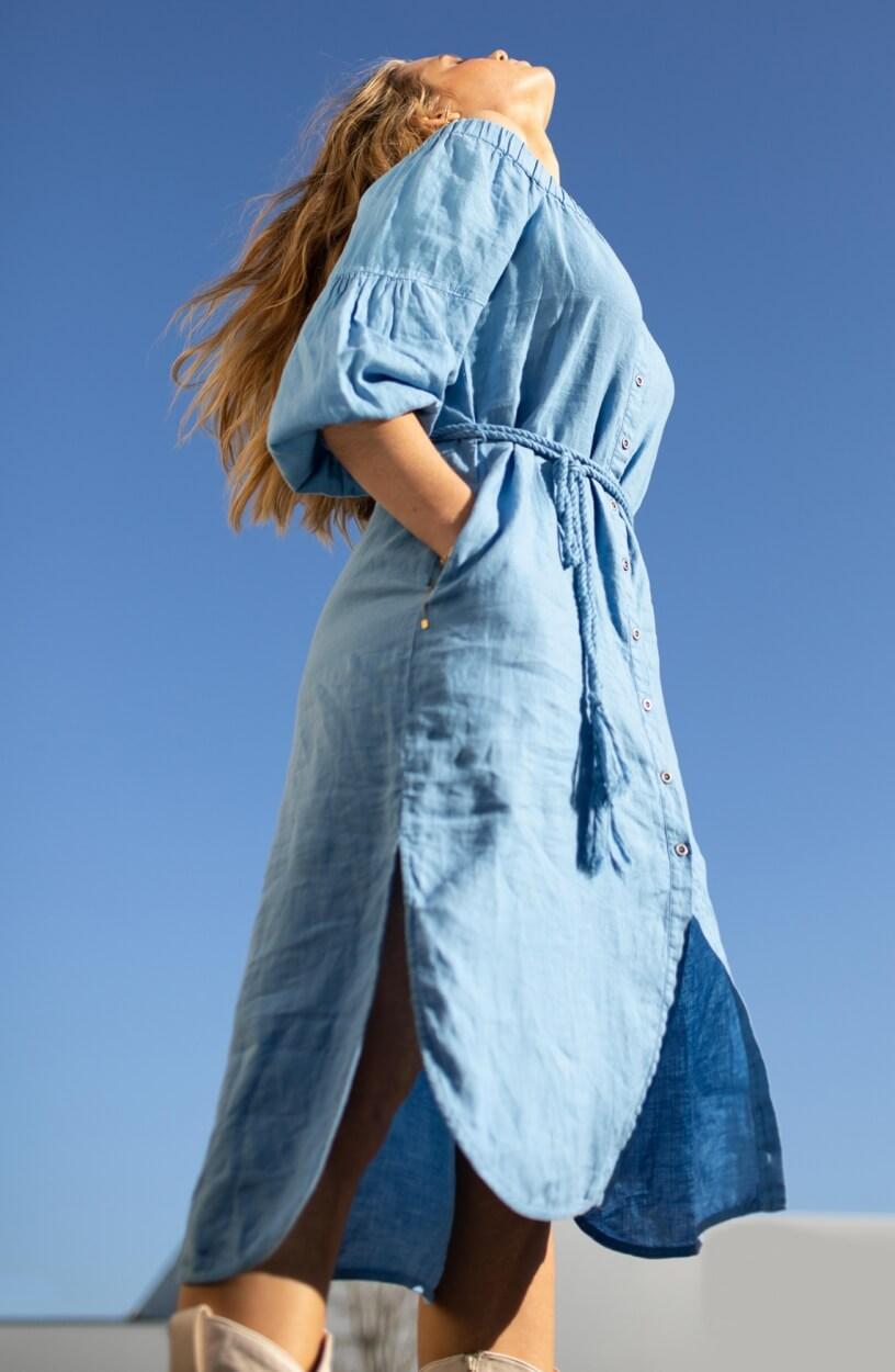 Anna Dames Linnen jurk Blauw
