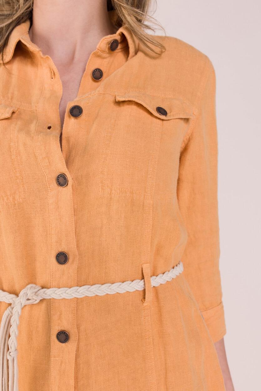 Anna Dames Linnen blousejurk Oranje