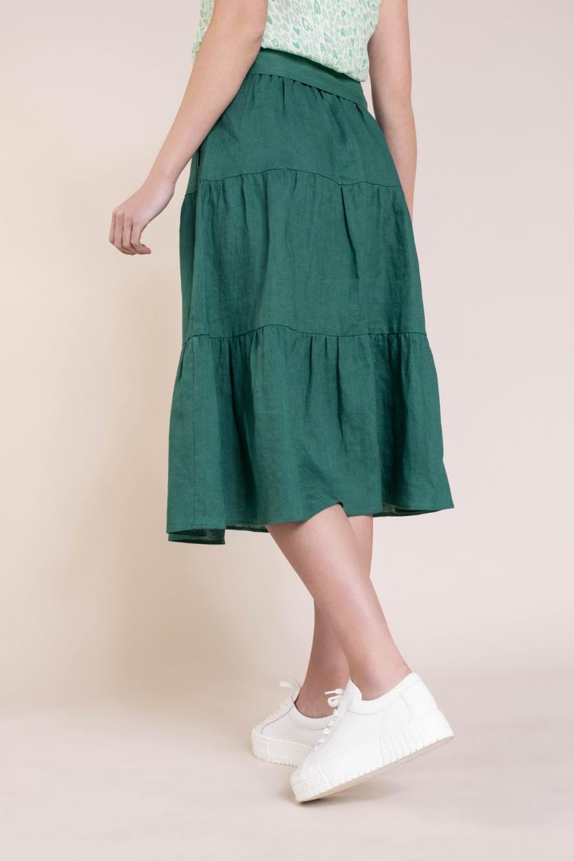 Anna Dames Maxi rok met ceintuur Groen