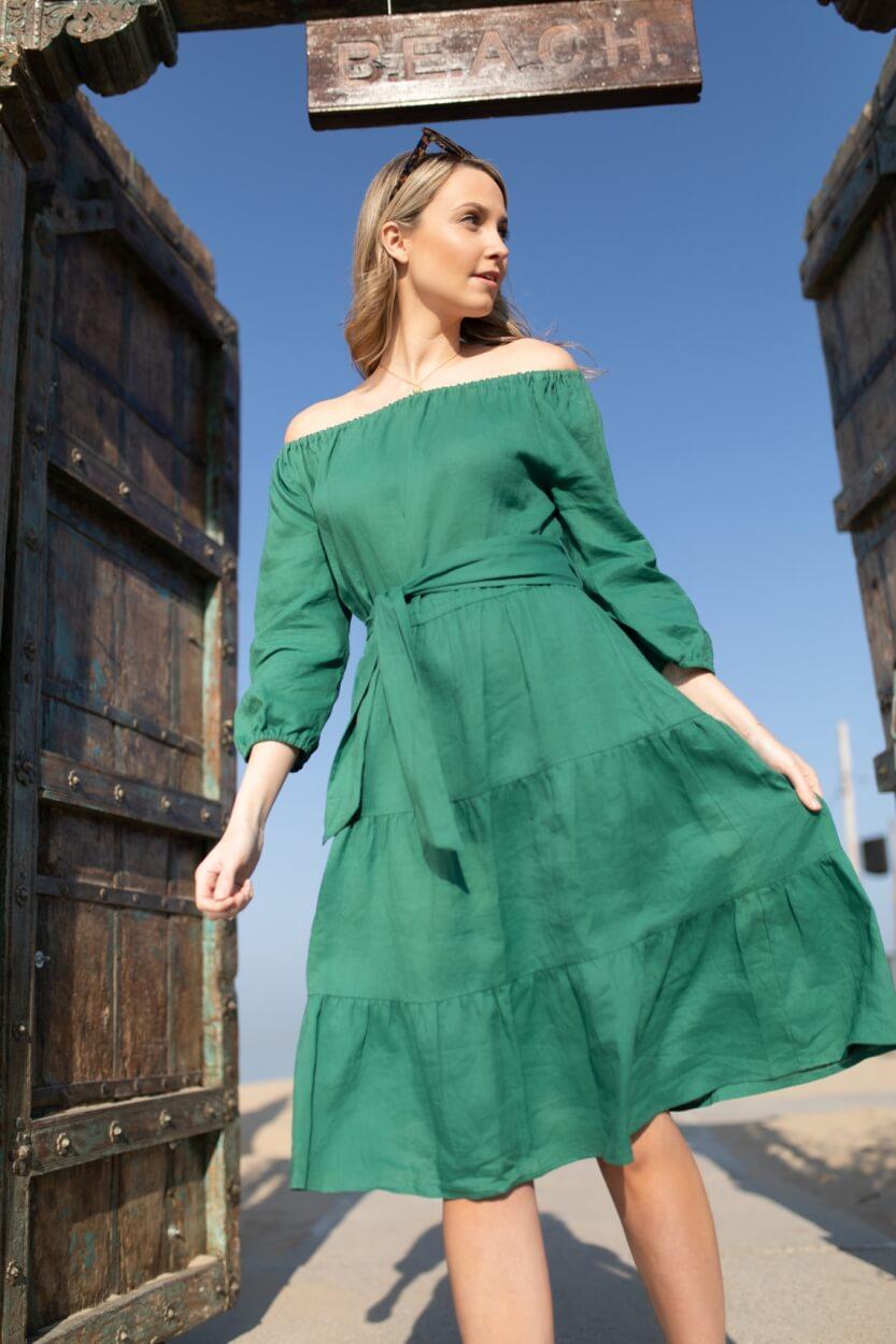 Anna Dames Linnen jurk Groen
