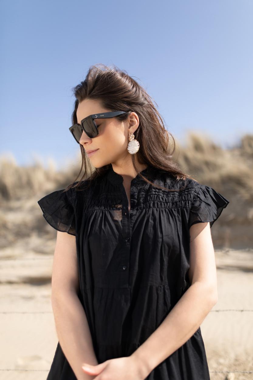 Anna Dames Ruches jurk Zwart