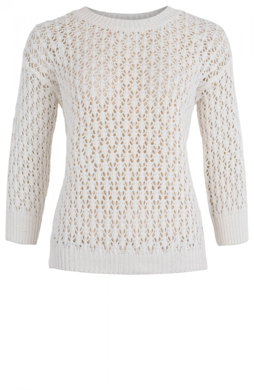 Anna Dames Ajour pullover Wit