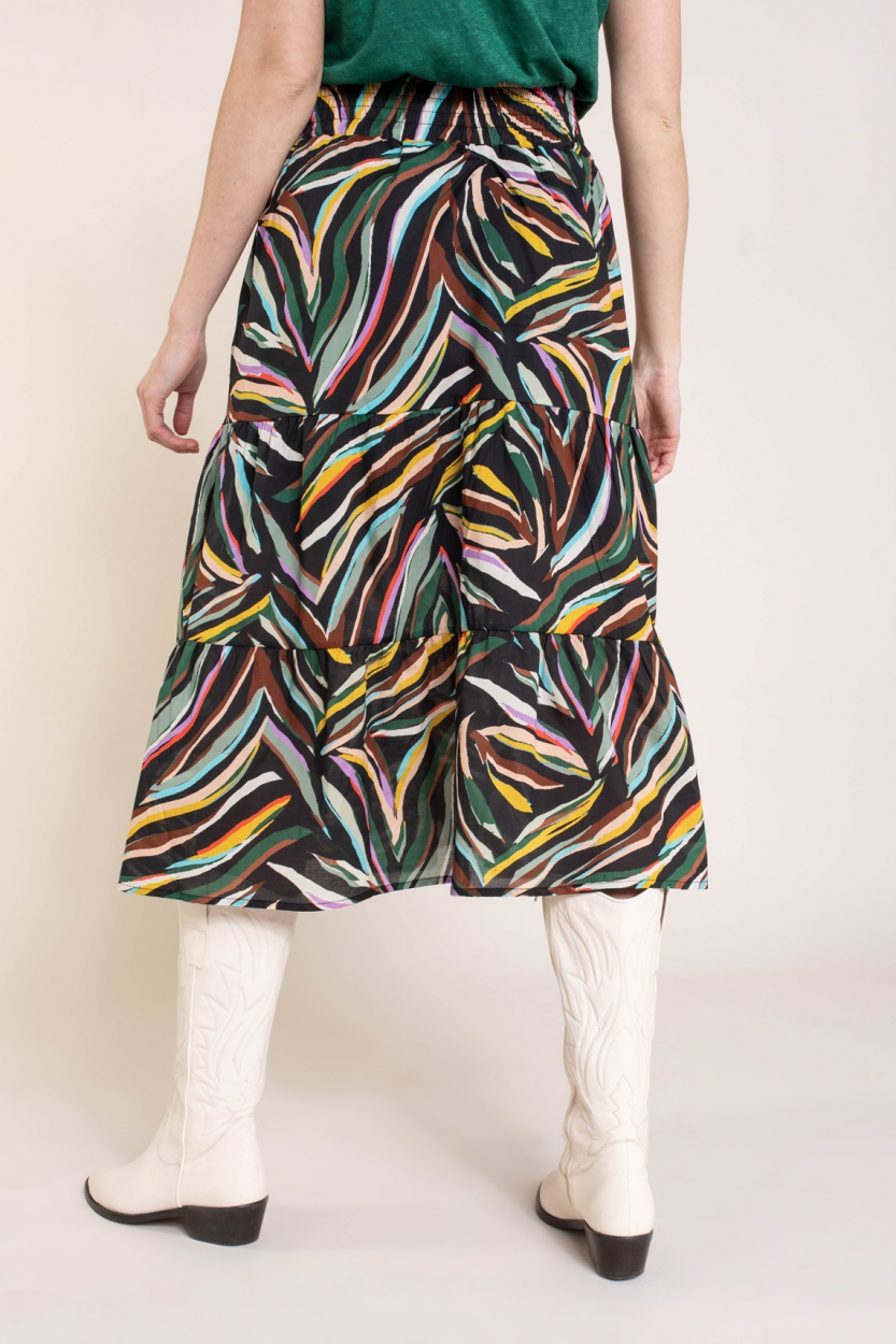Anna Dames Kleurrijke rok Zwart