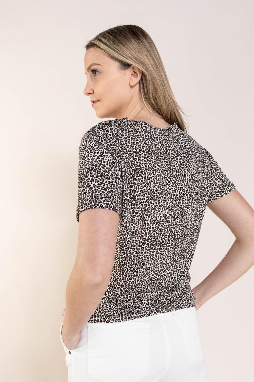 Anna Dames Shirt met panterprint Bruin