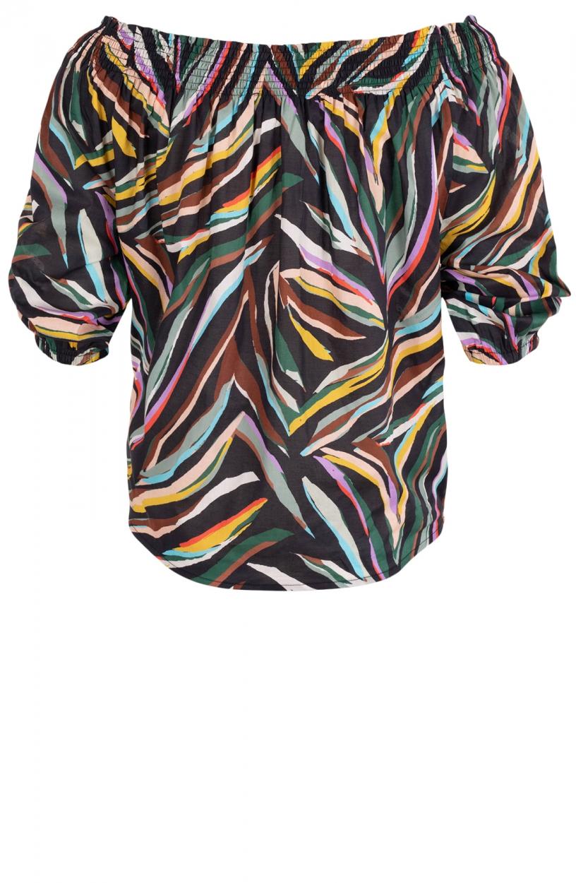 Anna Dames Kleurrijke blouse Zwart