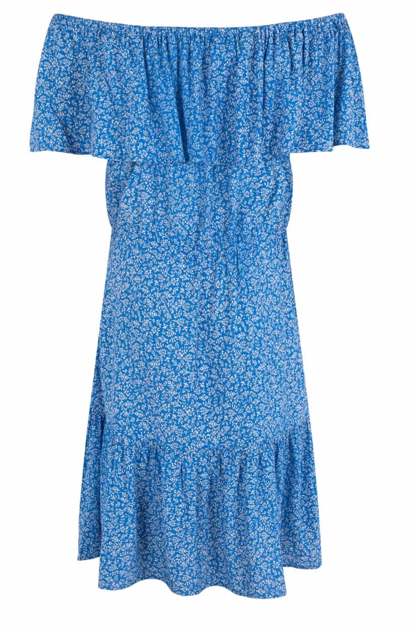 Anna Dames Off shoulder jurk Blauw