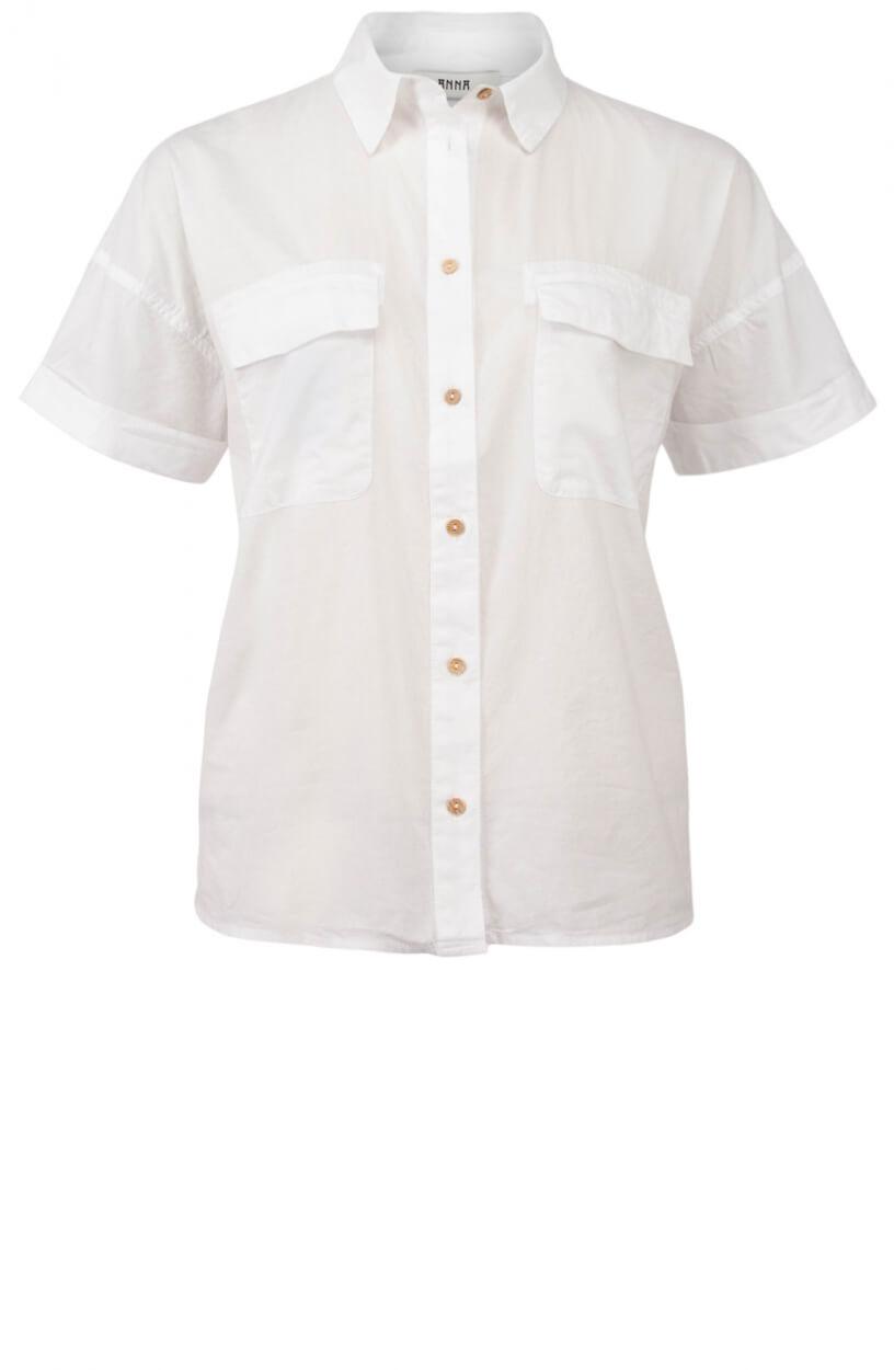 Anna Dames Garment dye blouse Wit