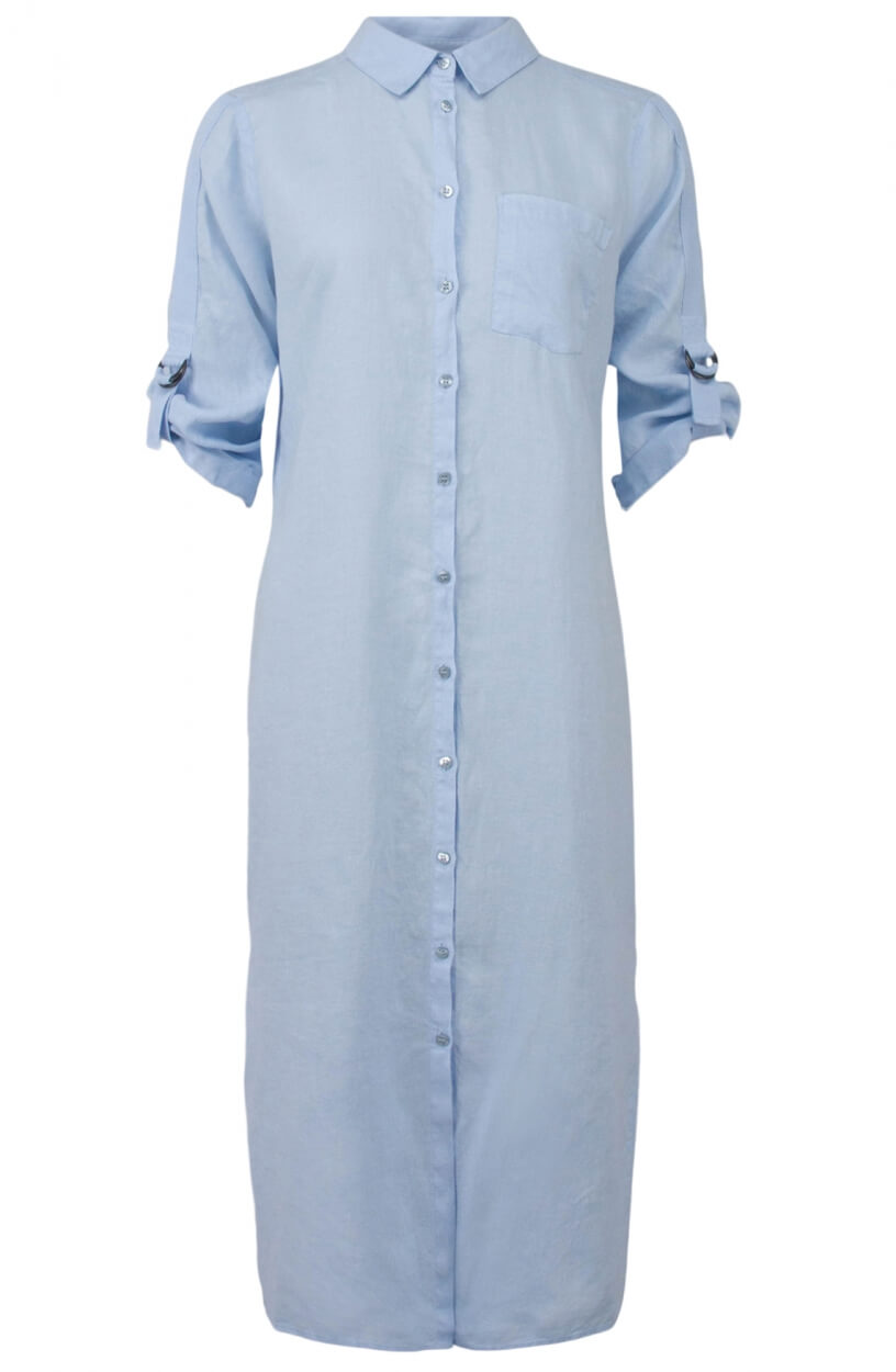Anna Dames Linnen blousejurk Blauw