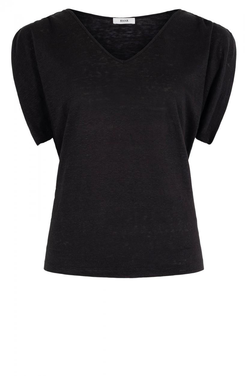 Anna Dames Linnen shirt Zwart