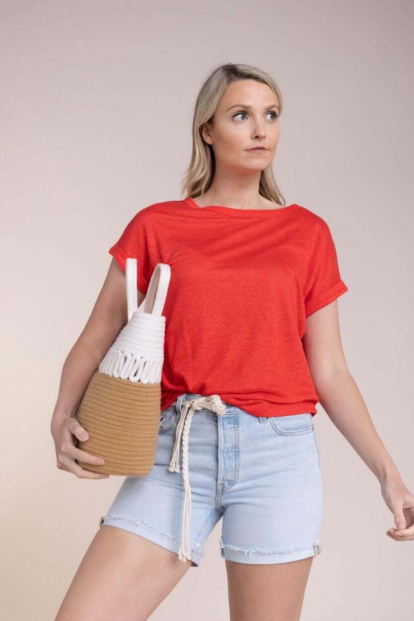 Anna Dames Linnen shirt Roze