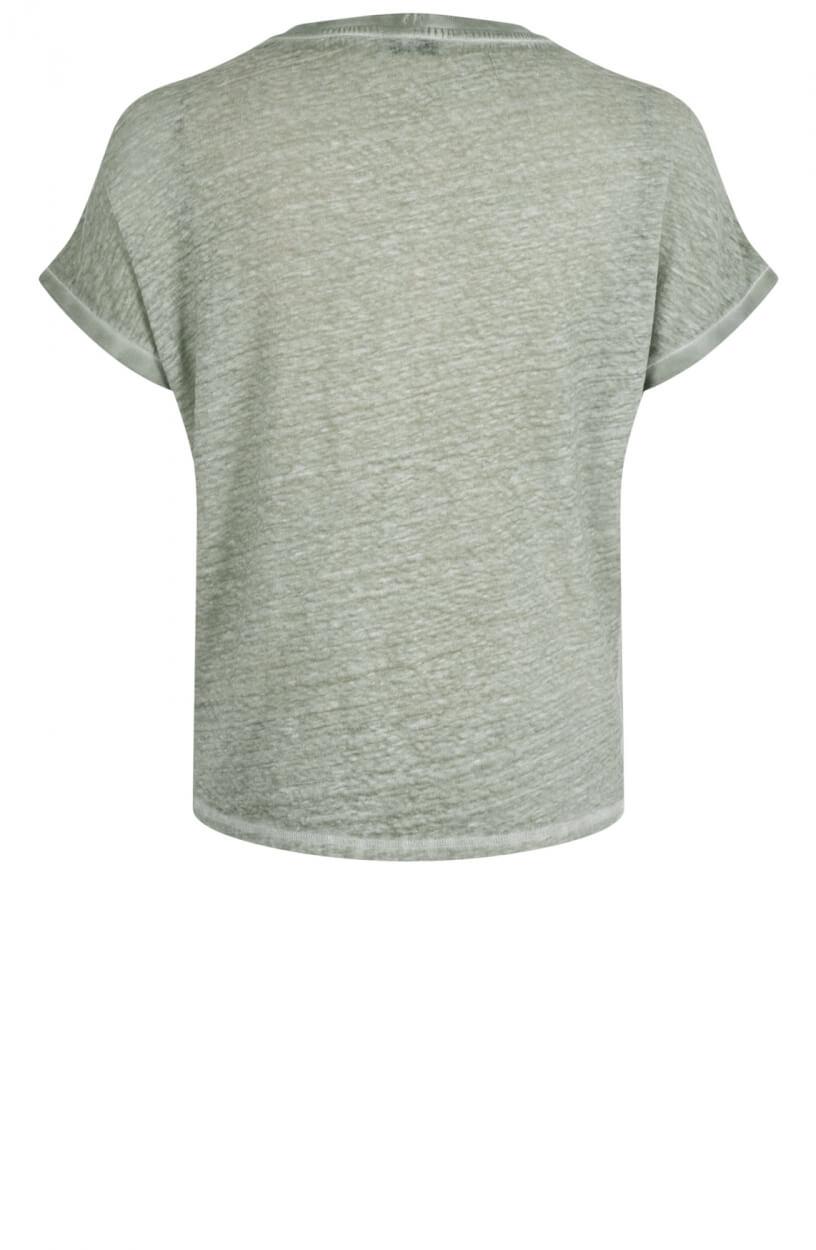 Anna Dames Linnen garment dye shirt Groen