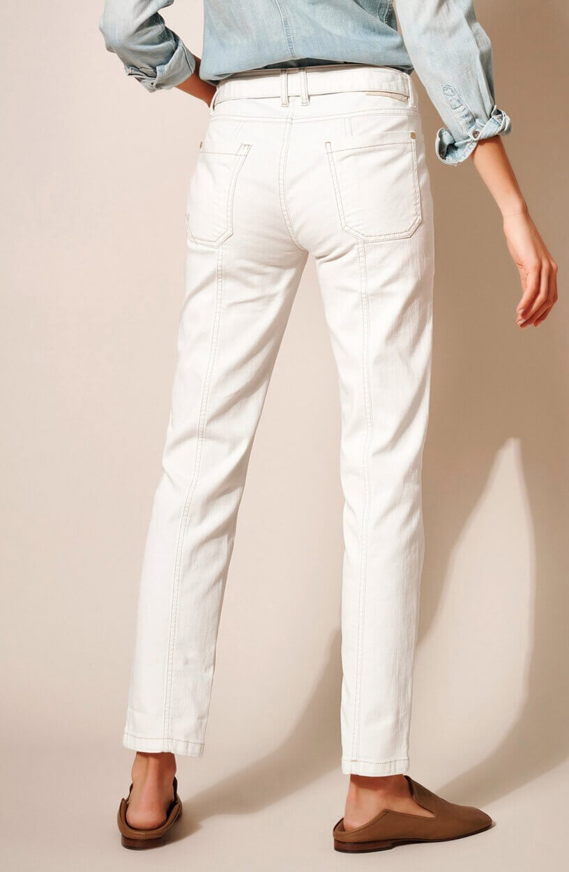 Rosner Dames Jeans met ceintuur Wit