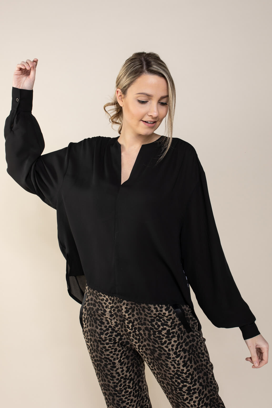 10 Days Dames Flowy blouse Zwart