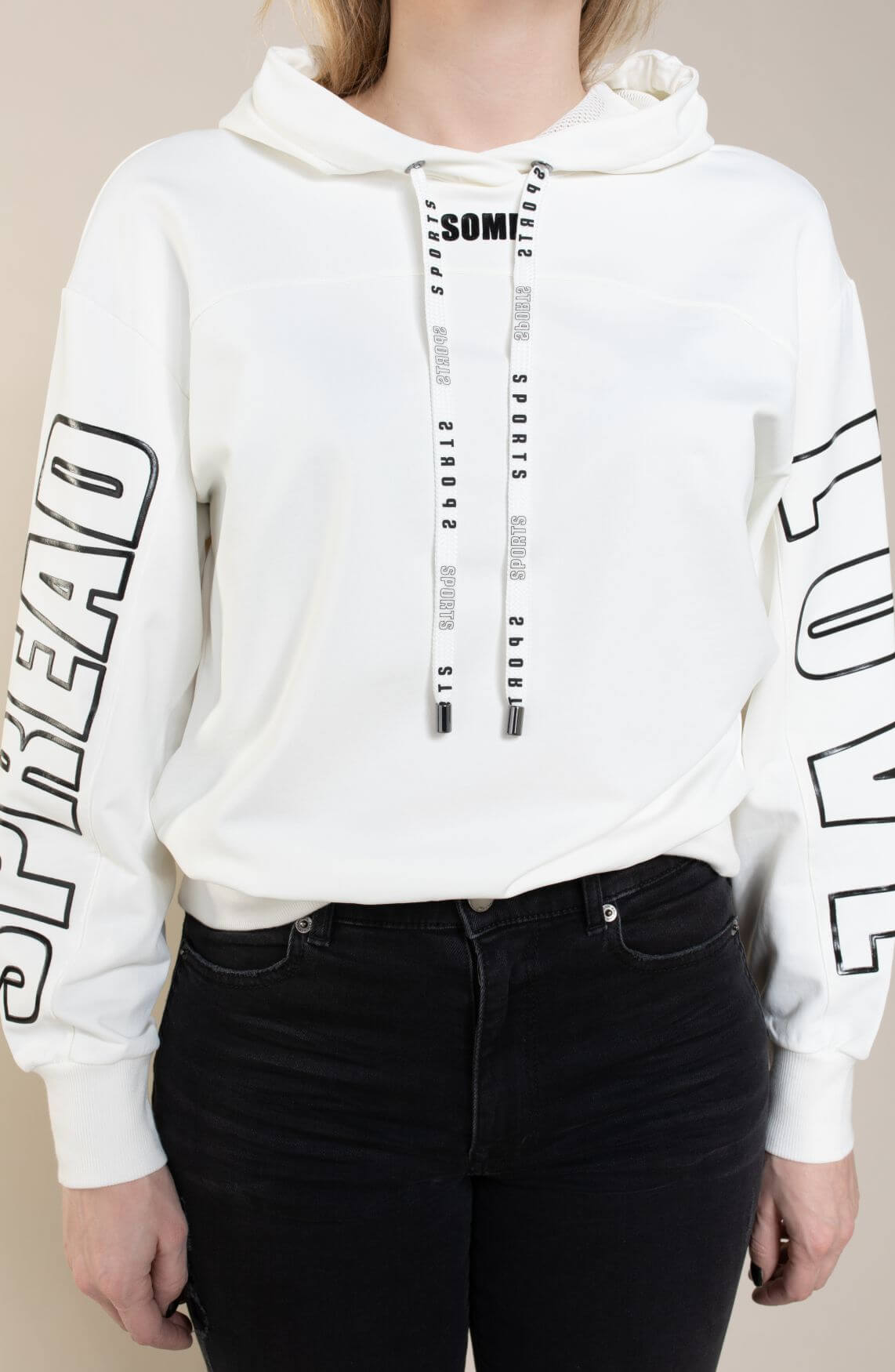 Marccain Sports Dames Sweater met tekstopdruk wit