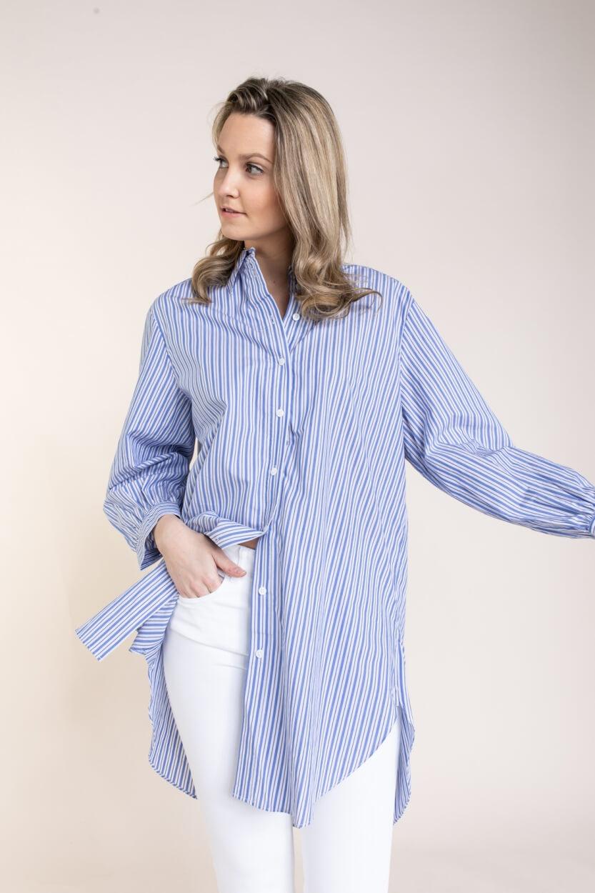 Object Dames Gestreepte blouse Blauw