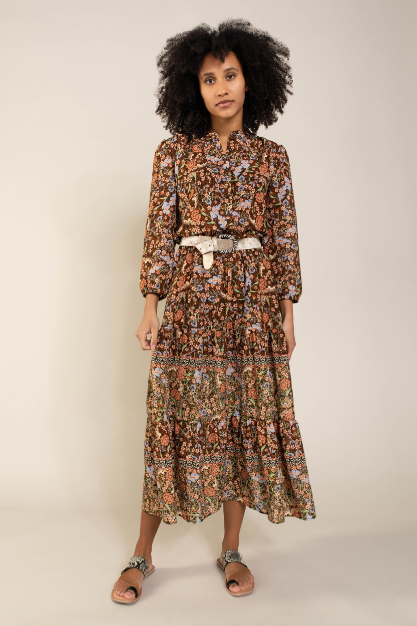 Anna Dames Floral jurk Bruin