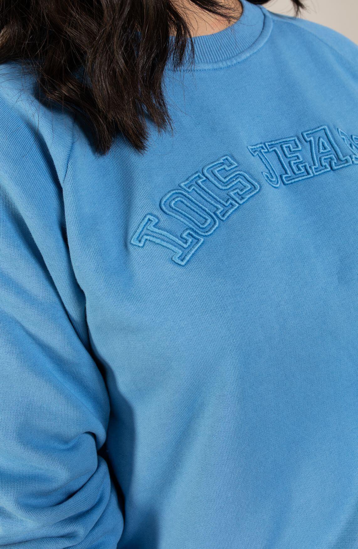 Lois Dames Oversized pullover met logo Blauw