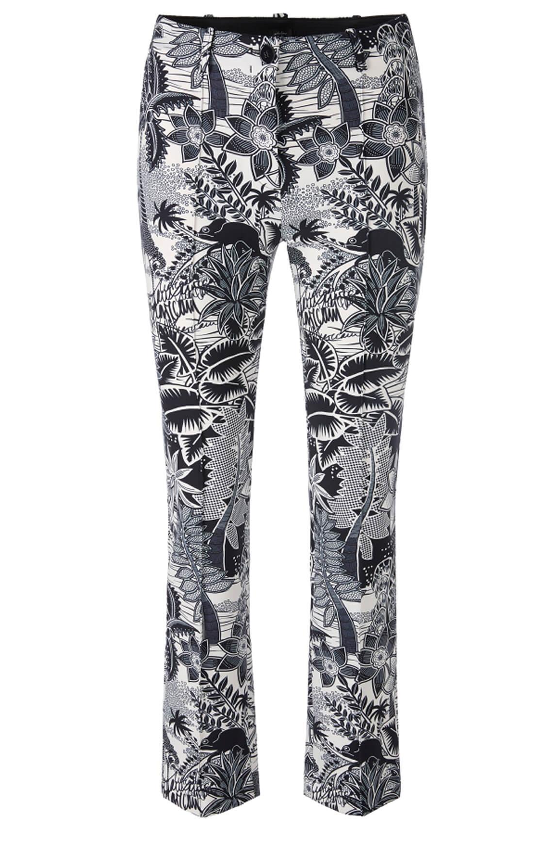 Marccain Dames Pantalon met tropische print Zwart