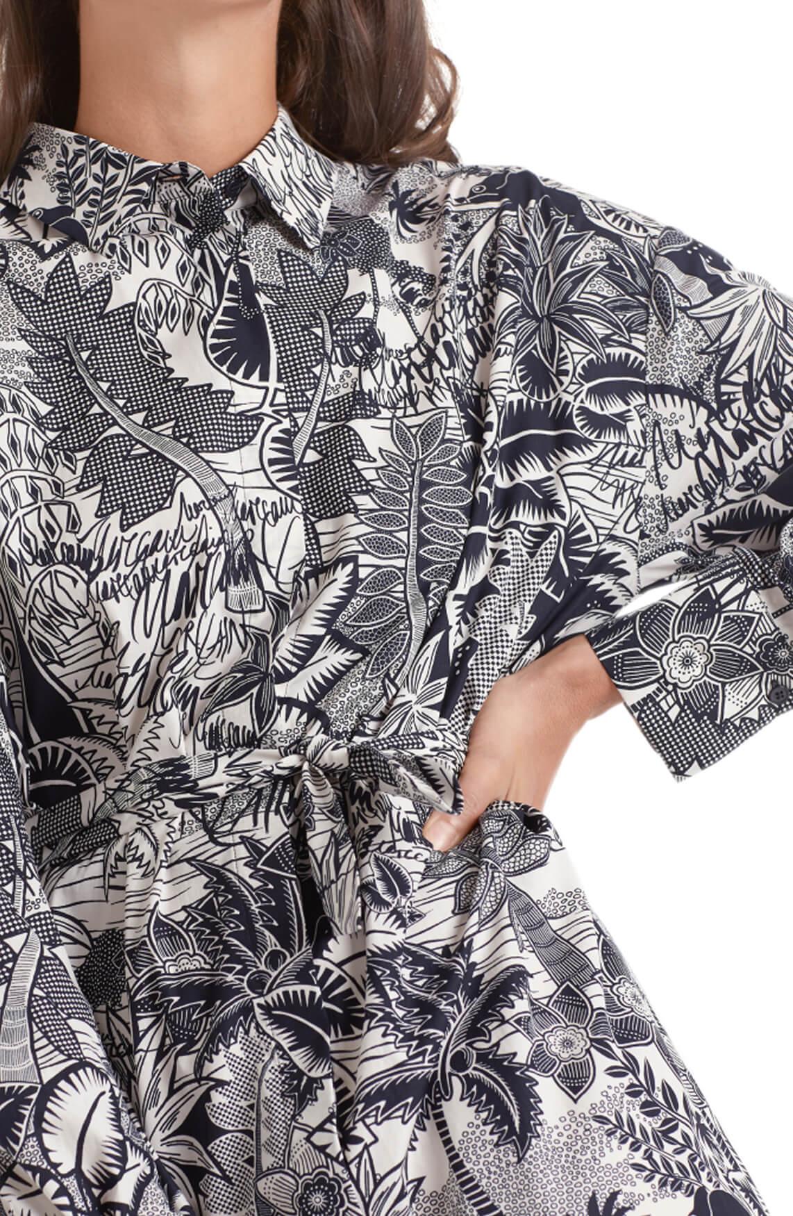Marccain Dames Jurk met tropische print Zwart
