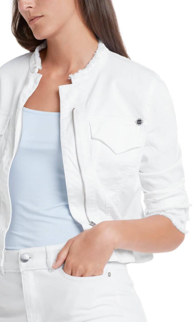 Marccain Dames Spijkerjasje met franjes Wit