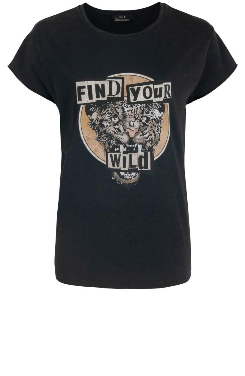 Set Dames Shirt met animalprint Zwart