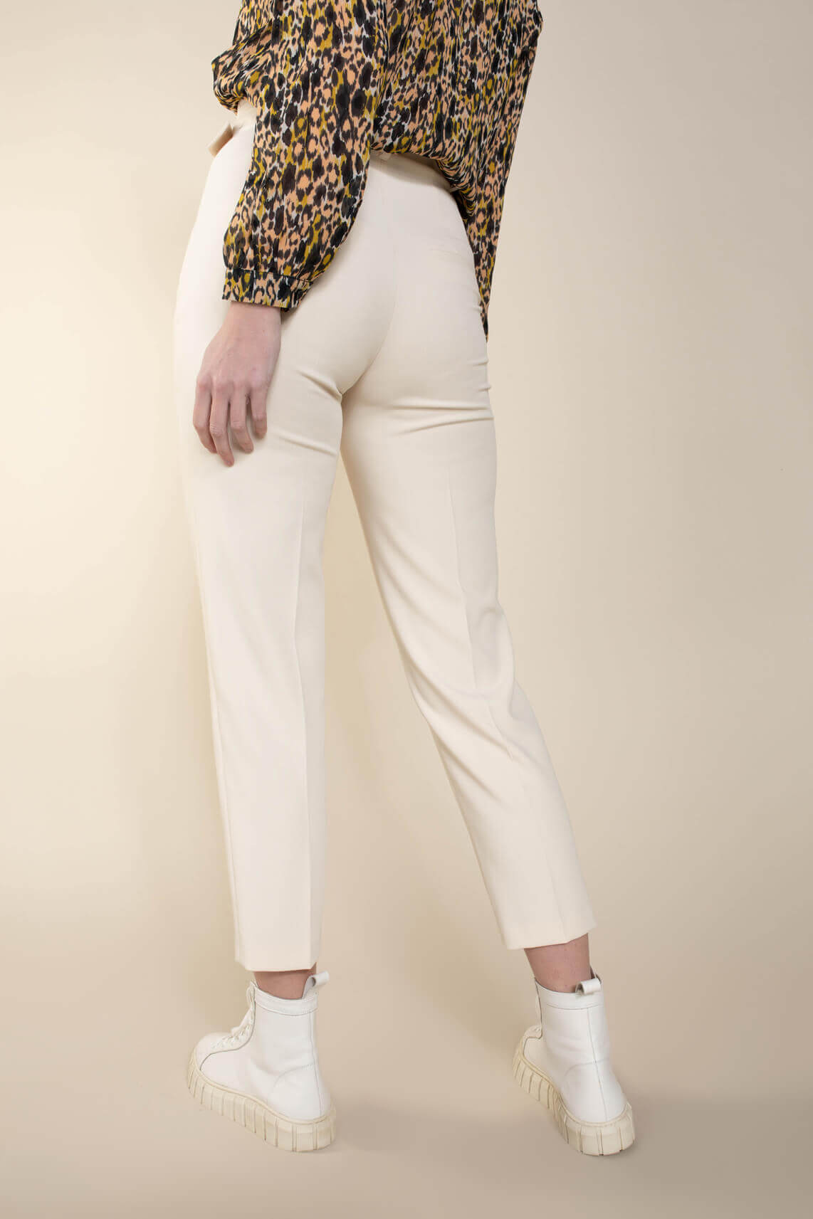 Set Dames Pantalon met ceintuur Ecru