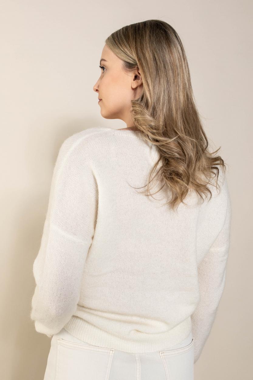 Moss Copenhagen Dames Femme V-neck pullover Wit