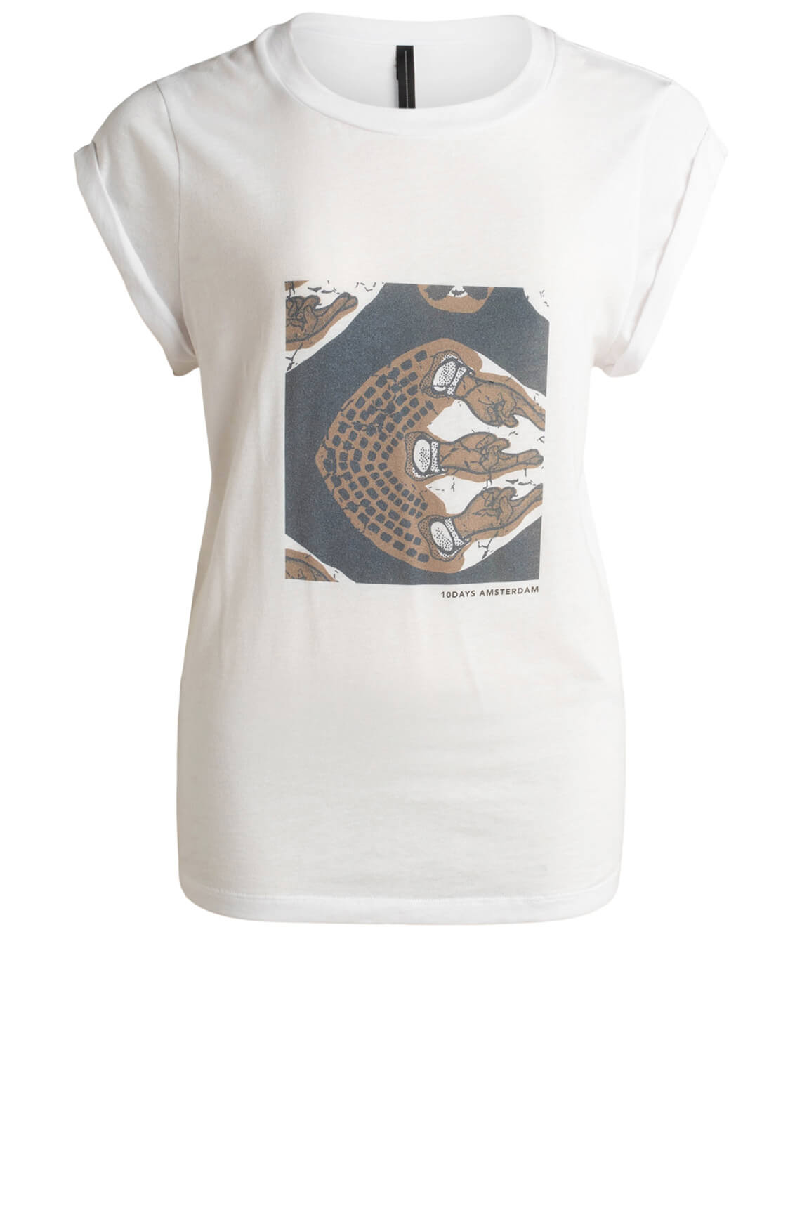 10 Days Dames T-shirt ethnic print Wit