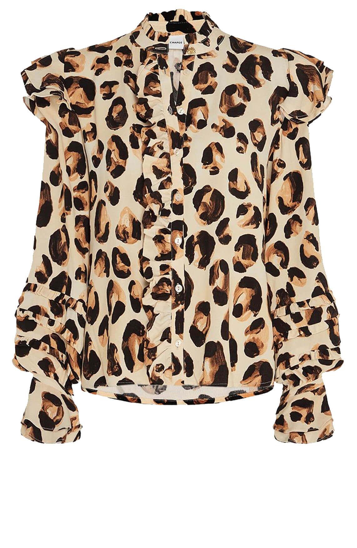 Fabienne Chapot Dames Leo Frill blouse Bruin